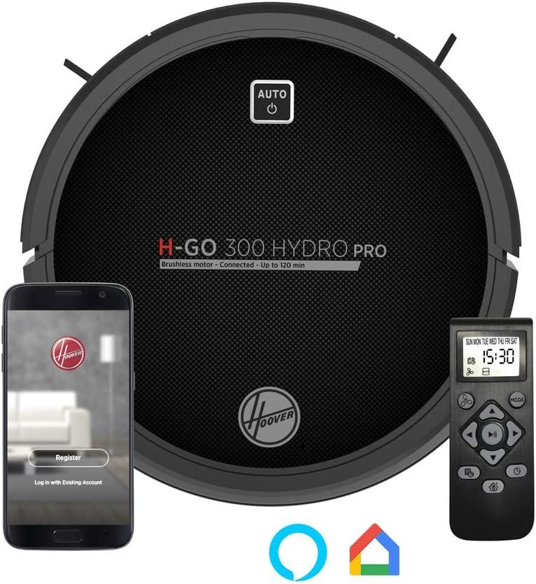 Hoover HGO330HC Hydro Pro - Robot Aspirador, Aspira, Barre, Friega y Pasa la Mopa, 2 Depósitos, Wi-Fi, Conexión Alexa, Autonomía 120mins, Mando y Base de Carga, Sensor Anticaída y Antichoque: Amazon.es: Hogar