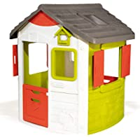 Smoby 810500 Neo Jura Lodge. Kinderspielhaus für Indoor und Outdoor, Gartenhaus für Kinder ab 2 Jahren, Grau, Grün, Weiß, Rot