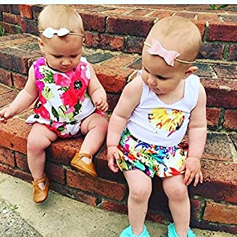 Annvivi Baby Girls Red Floral Vest Top Short Pants 2Pcs Shorts Outfit Set