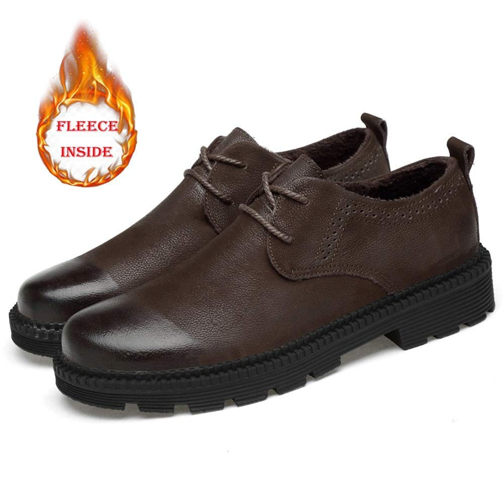 2018 Männer Business Business Business Oxford Casual Leder Arbeitskleidung Rundkopf Dicker Boden Regelmäßige Baumwolle Warm Formale Schuhe (Farbe   Warm braun, Größe   38 EU) ( Farbe   Warm braun , Größe   45 EU ) ae430f