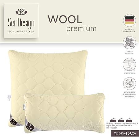 Wool Premium Kopfkissen 40x80 Mit Feinster Ausserst Bauschiger Echter Schurwolle Gefullt Bezug Aus Feinem Mako Satin Mit Seidenfinish 100