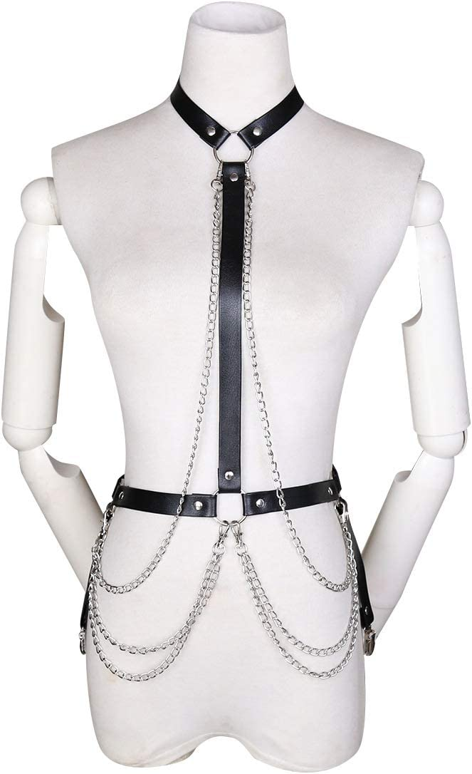 Women Men PU Leather Body Harness Restrain Top Chest Strap Gothic Bondage Chain