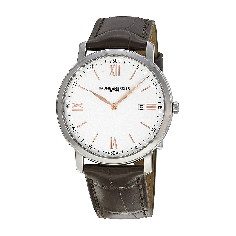 Baume und Mercier Classima Silber Zifferblatt Leder braun Herren-Armbanduhr 10181