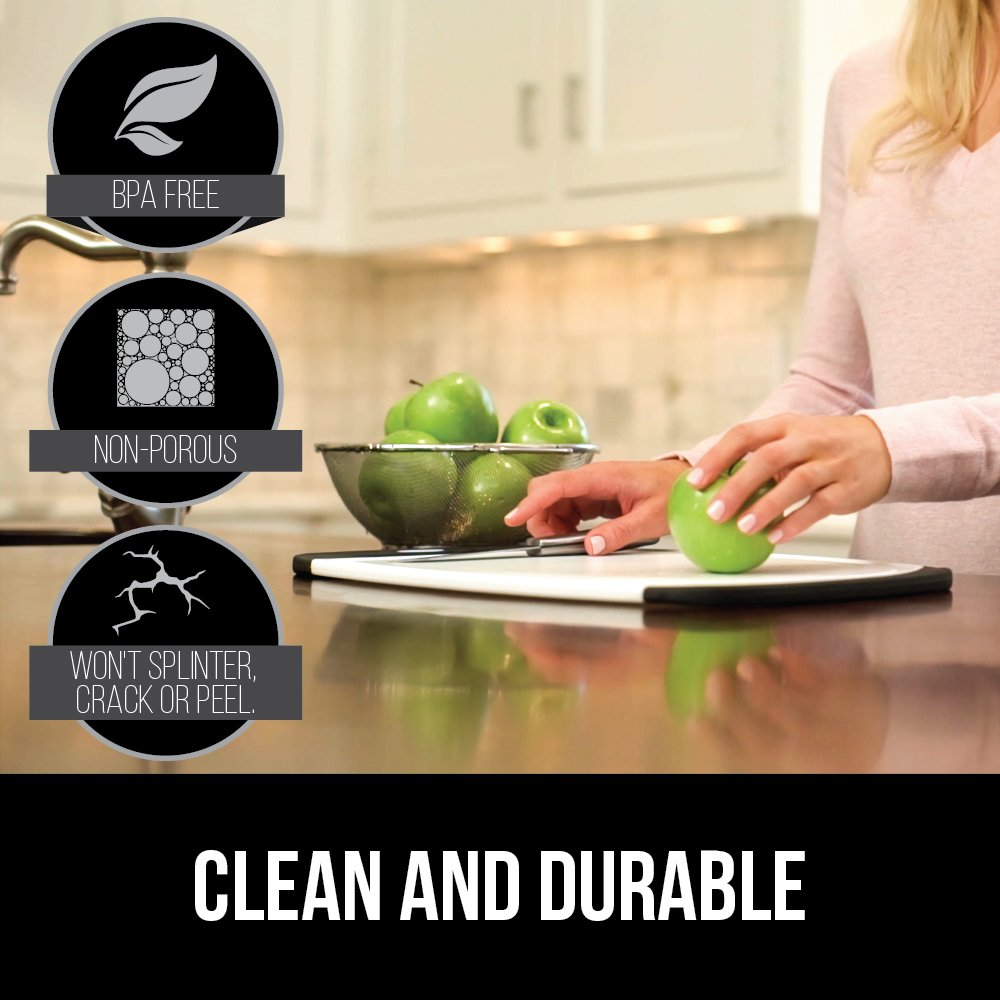 GORILLA GRIP Original Reversible Cutting Board (3-Piece), BPA Free, Dishwasher Safe, Juice Grooves, Larger Thicker Boards, Easy Grip Handle, Non-Porous, Extra Large, Kitchen (Set of Three: Gray) by Gorilla Grip (Image #6)