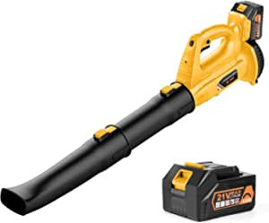 Cordless Leaf Blower - BHY 320 CFM 150 MPH Battery Leaf Blower with 4.0Ah Battery & Charger , 2 Section Tubes, 6-Speed Dial, Electric Leaf Blower for Dust, Snow Debris,Yard, Work Around The House