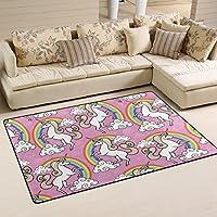 DEYYA Home Contemporary Rainbow White Unicorn Area Rugs 325 x 5, Modern Non-Slip Doormats Carpet for Living Dining Room Bedroom Hallway Office Easy Clean Footcloth