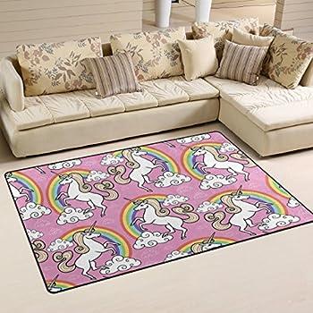 Amazon Com Deyya Home Contemporary Rainbow White Unicorn
