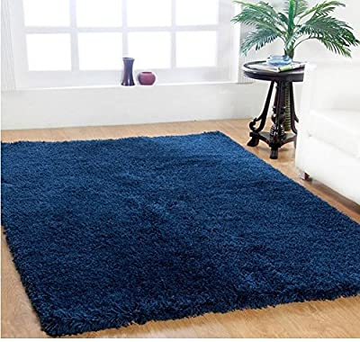 Single Piece Bright Navy Blue Shag Rug, 5' x 8' Rug, Contemporary, Indoor Decor, Cotton Hand-Loomed Construction Rug, For Luxurious Room Decor
