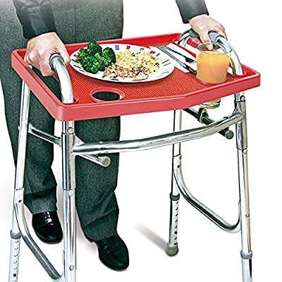 Walker Tray with Non-Slip Grip Mat, Fits Most Walkers