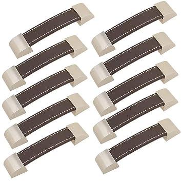 FBSHOP(TM) 10 piezas tiradores de cajón de cuero retro de alta calidad/