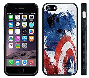 Apple iPhone 6 Black Rubber Silicone Case - Captain America Painting Super Hero Graphic Cool