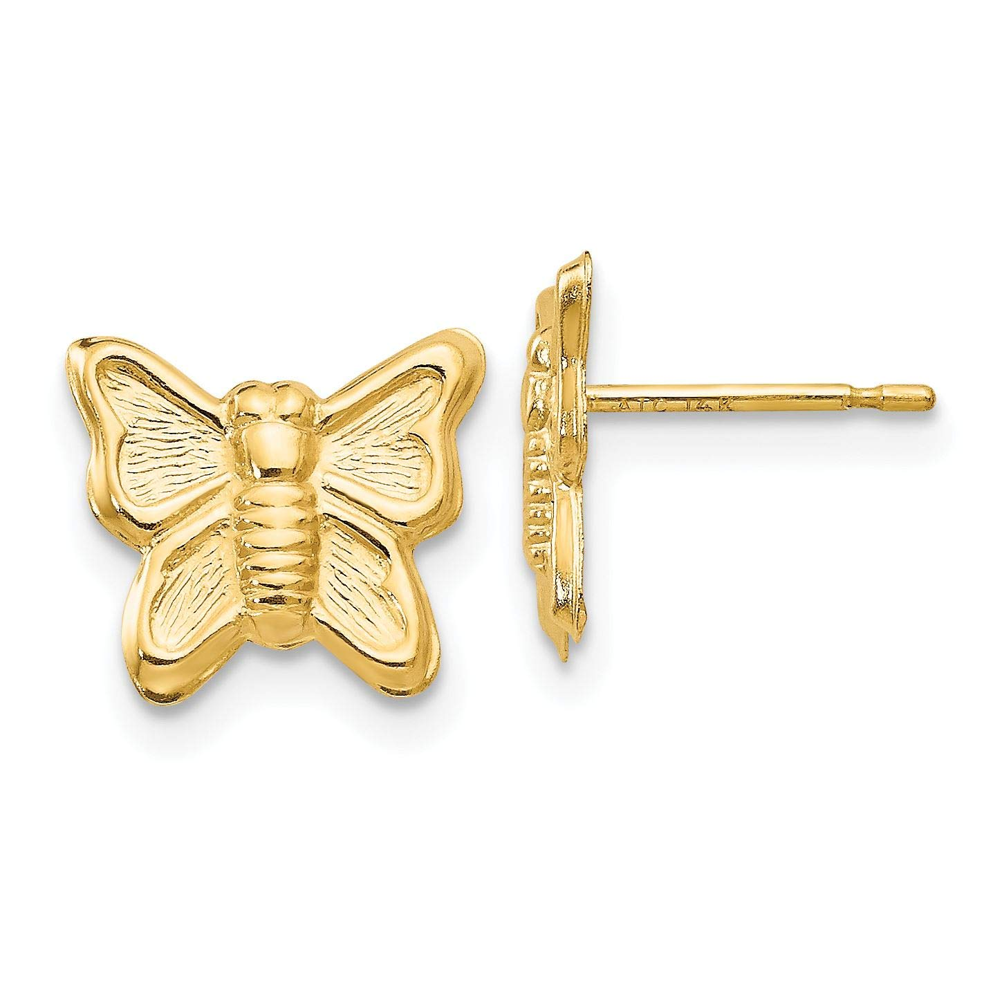 14K Yellow Gold Madi K Childrens 10 MM Butterfly Post Stud Earrings