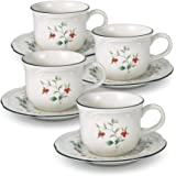 Pfaltzgraff Winterberry Teacup and Saucer, Set of 4