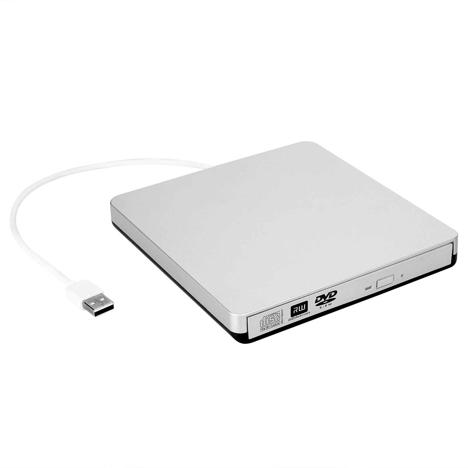 ZSMJ USB 2.0 External CD Drive,DVD-R CD-RW Writer/Burner/Player with Classic Silvery for MacBook Air, MacBook Pro, Mac OS, PC Laptop(Silvery)