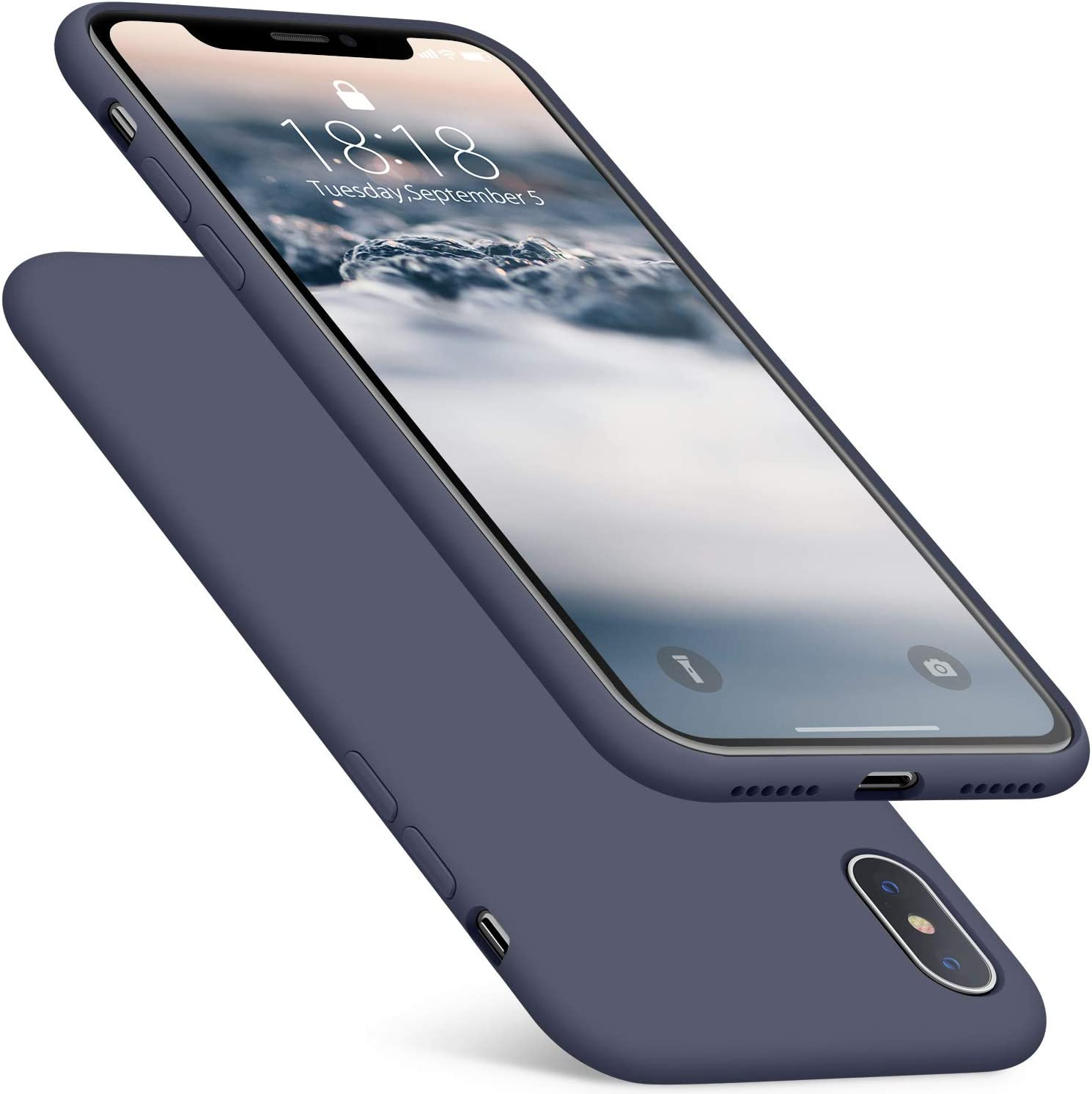 DTTO Compatible with iPhone Xs Case/iPhone X Case, Silicone Case [Romance Series] iPhone 10x Slim Fit Case with Hybrid Protection for iPhone Xs (2018)/iPhone X (2017) 5.8 Inch-Midnight Blue