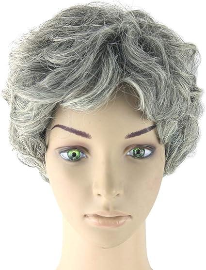 Amosfun anciana peluca abuela peluca gorra abuelita disfraz ...