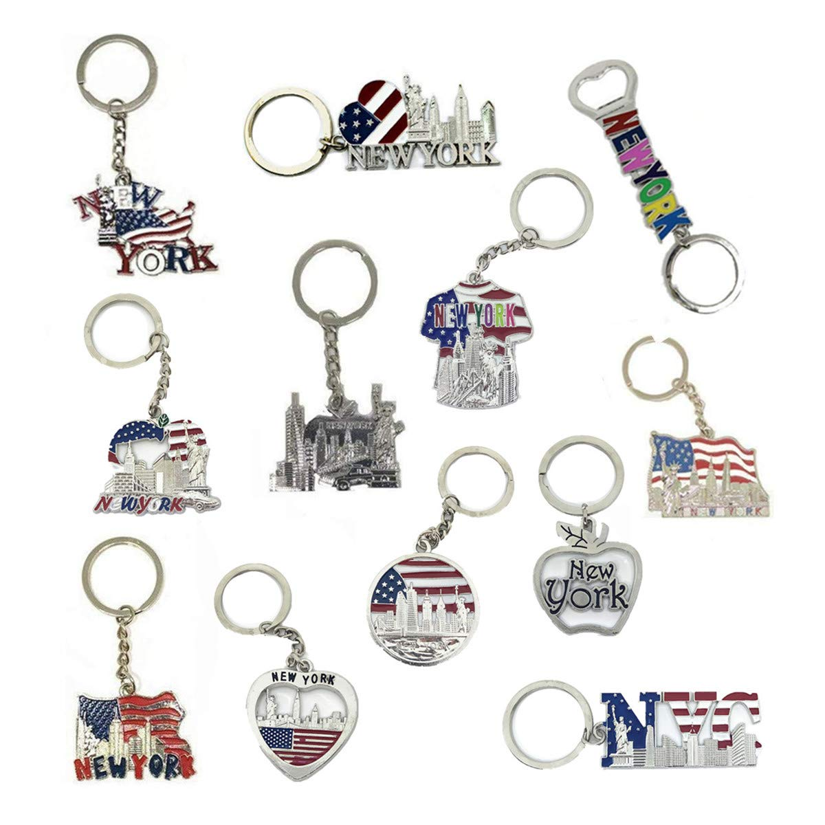 12 Pack New York NYC Metal Keychain Ring Bundle Souvenir Collection, Gift Set - Includes Empire State, Freedom Tower, Statue Of Liberty, USA Flag, And More by TSY TOOL