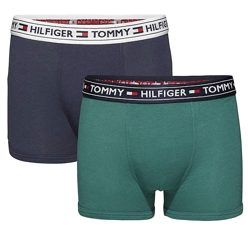 Tommy Hilfiger Boys 2 Pack Authentic Boxer Trunk Bayberry//Navy Blazer