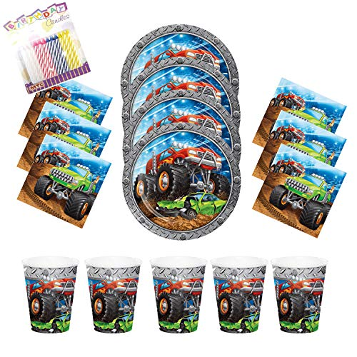 Monster Truck Rally Party Plates Napkins and Cups (Serves-16) with Birthday Candles- Monster Truck Party Supplies Pack (Bundle for 16)
