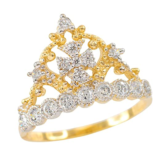 Amazon Dainty 10k Yellow Gold Crown Cross CZ Band Ring Jewelry