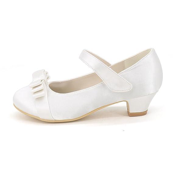 Elegant high shoes Fille Chaussures à Talons Satin Printemps Eté Automne Hiver Décontracté Fleur Talon Bas Blanc, Blue, 30