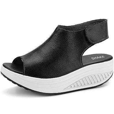 4ce41e1370e SHAKE Women s Leather Comfort Peep Toe Walking Wedges Sandals Platform  Heeled Shoes for Women (4.5