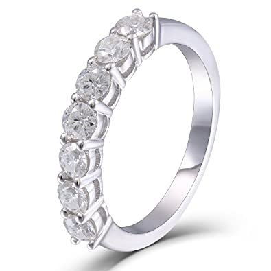 Amazon transgems 07 ctw moissanite lab created diamond half transgems 07 ctw moissanite lab created diamond half eternity wedding band 925 sterling silver for women junglespirit Images