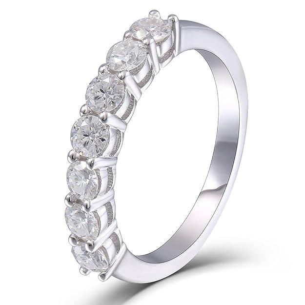 Review TransGems 0.7 CTW Moissanite Lab Created Diamond Half Eternity Wedding Band Platinum Plated Silver for Women