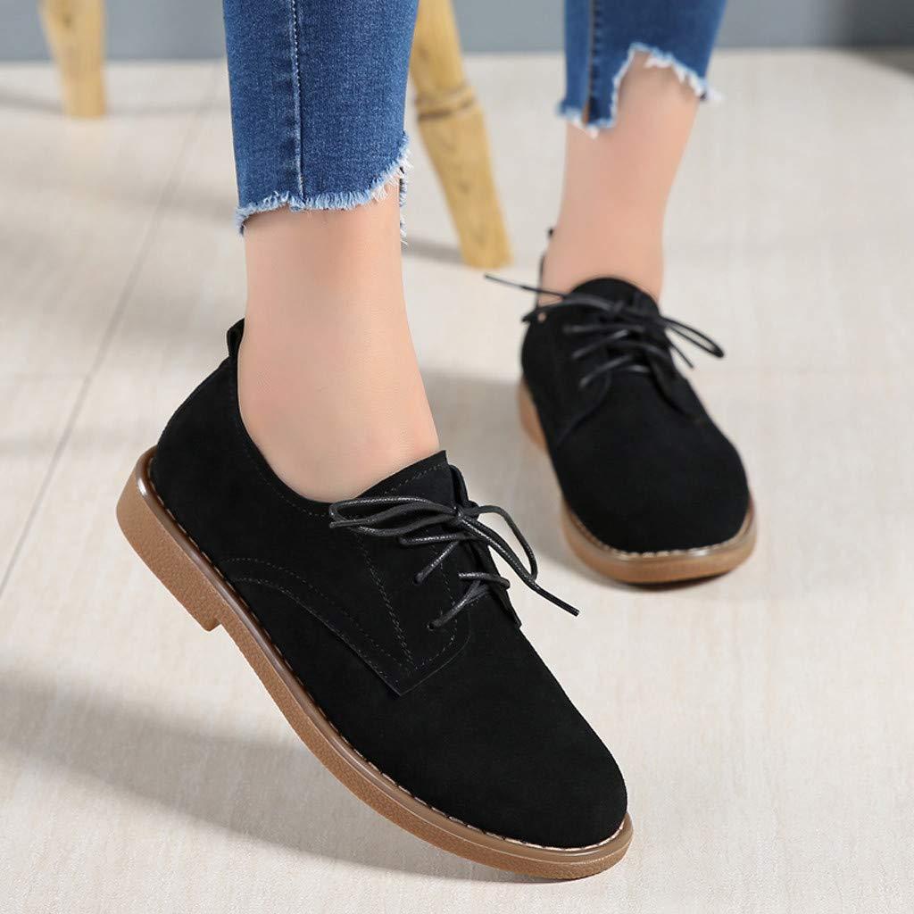 Lurryly Fashion Women Retro Lace-Up Flat Round Toe Shallow Mouth Low-Heeled Leather Shoe