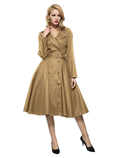 5e64cb2957d Maggie Tang Vintage Elegant Swing Coat Rockabilly Tunic Party Dress Khaki M