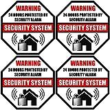 """Front Self Adhesive Vinyl Outdoor/Indoor (4 Pack) 3.5"""" X 3.5"""" Home Business Security Burglar Alarm System Window Door Warning Signs Alert Sticker Decals"""
