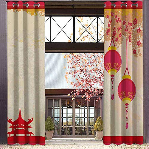 Top Inspired Peace Silk (hengshu Lantern Room Darkened Insulation Grommet Curtain Japanese Inspired Celebration Image with Lovely Colors Old Paper Theme Living Room W84 x L108 Inch Hot Pink Light Yellow)