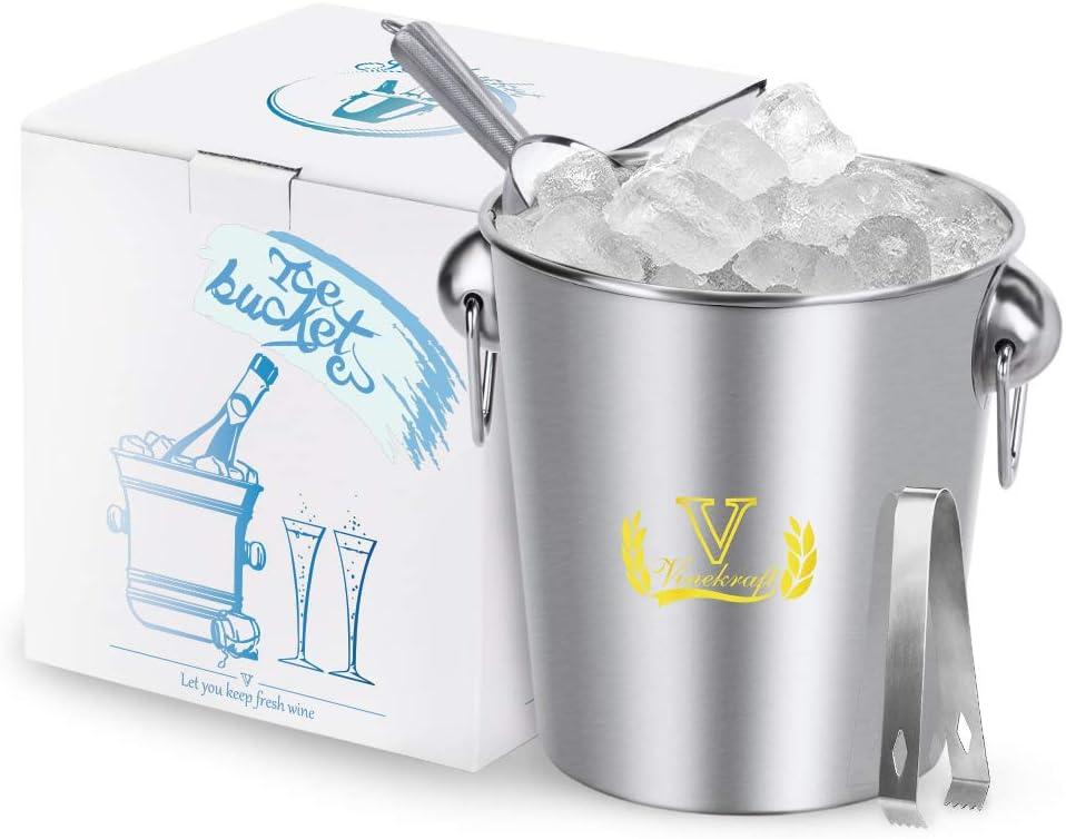 Vinekraft Seau /à glace en acier inoxydable avec pince et pelle /à glace Coffret cadeau de luxe 3,8 l