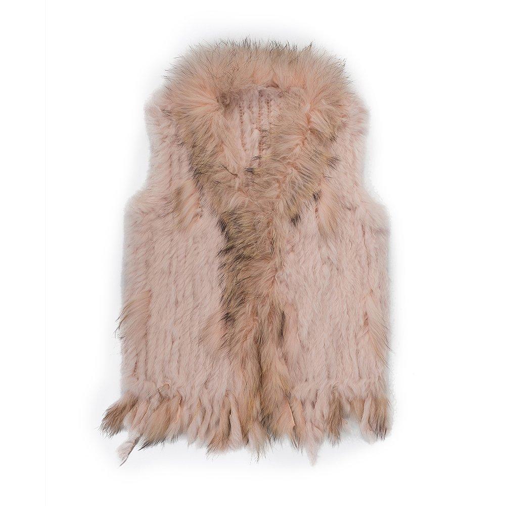 Warm Winter Mongolian Real Rabbit Fur Vest Jacket Women CS79A
