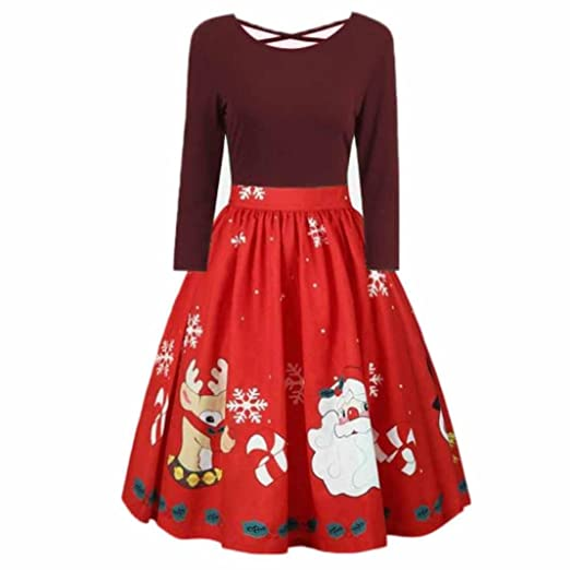 81803391e0184 Amazon.com  Elogoog Womens Ugly Christmas Reindeer Plus Size Long Sleeve  Sexy Backless Swing Party Dress  Clothing