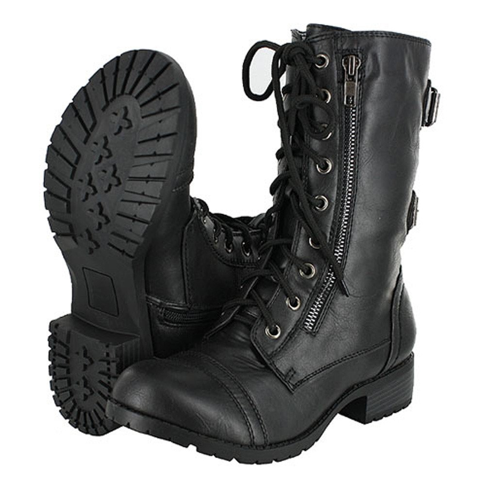 Top Moda Pack-72 Military Lace up Mid Calf Combat Boot - (BLACK) - 7.5