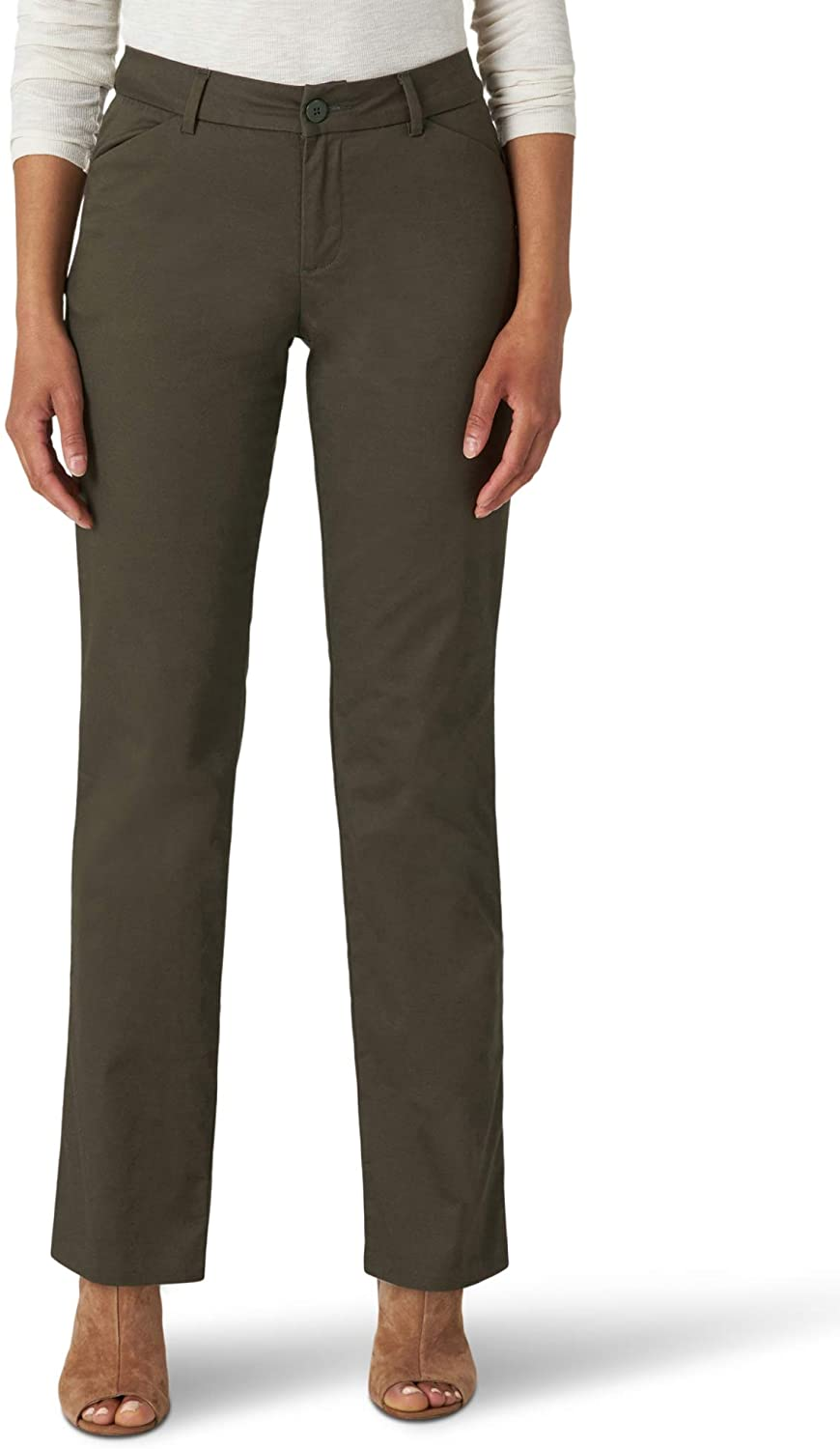Lee Uniforms Womens Wrinkle Free Relaxed Fit Straight Leg Pant