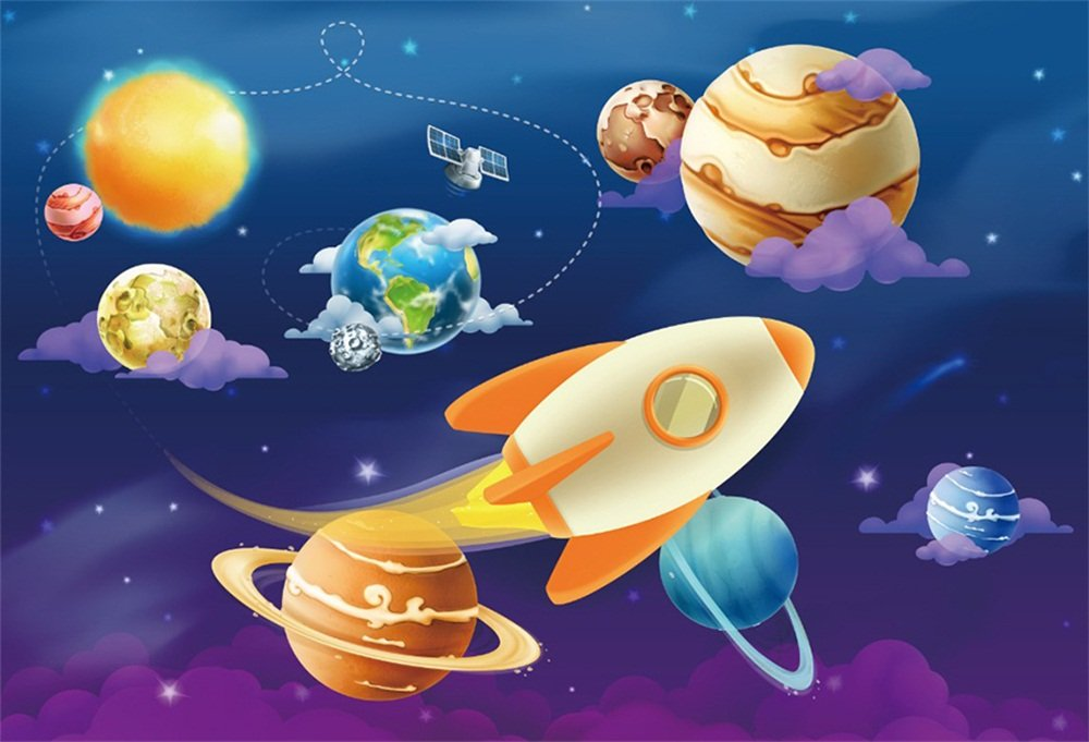 LFEEY 7x5ft Cartoon Space Background Solar System Earth Rocket Sun Planets Stars Satellite Photography Backdrop Kids Birthday Party Decoration Wallpaper Photo Studio Props