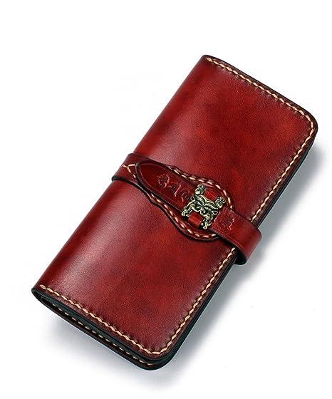 La nueva billetera hecha a mano con la primera capa de cuero retro Jiugong cartera larga