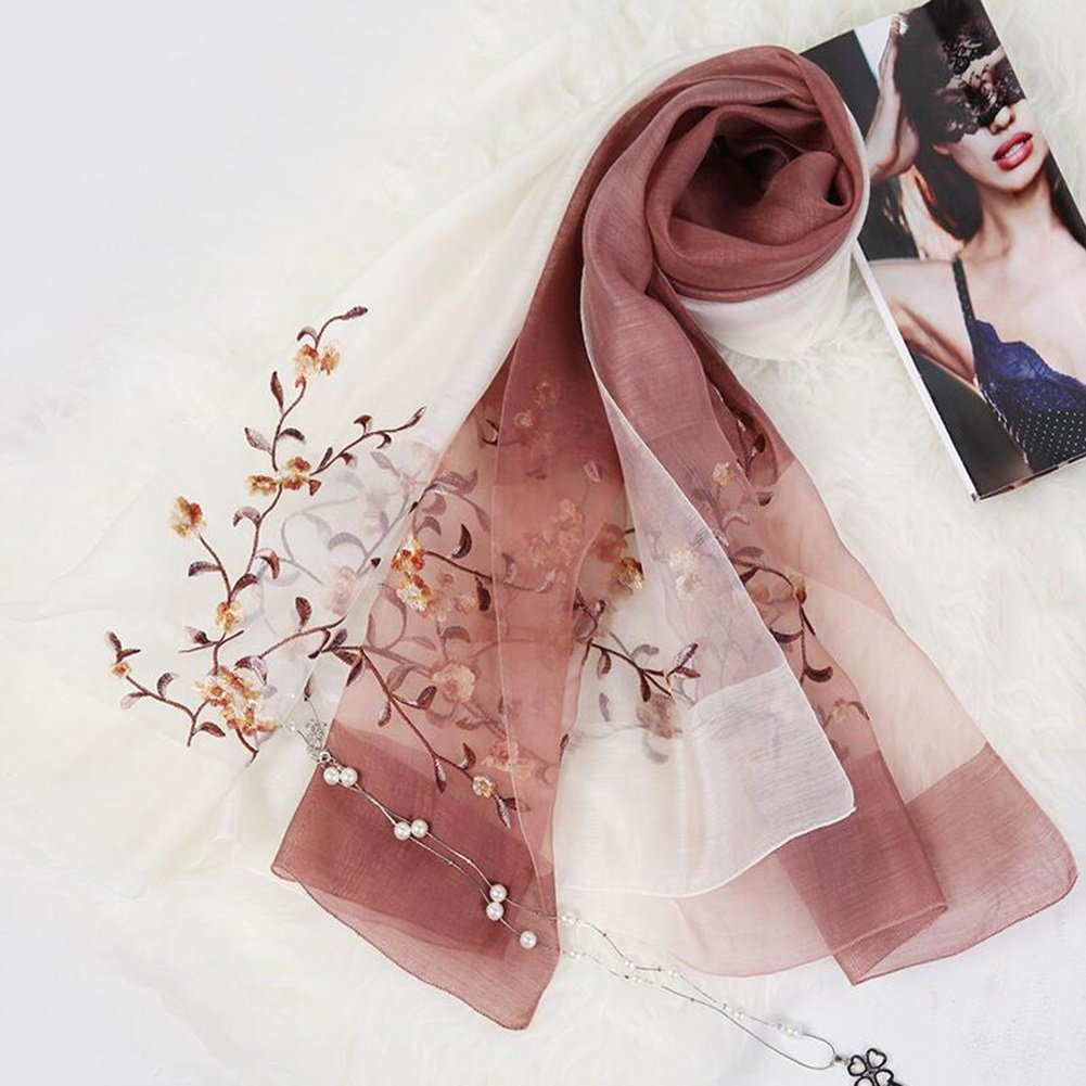 D YQQ Ladies Scarves Hand Painted Flower Scarves (color   I)