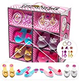 Shoes and Jewelry Boutique – Little Girl Princess Play Gift Set with 4 Pairs of Shoes, Collection of Earrings, Bracelets Rings – Great for Dress Up & Group Play – The Perfect Girl Gift!