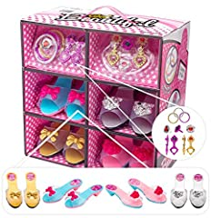 Heir, heir! The perfect playset for your pretty princess!        Help your little girl explore her passion for all things fashion with the Shoes and Jewelry Boutique by JaxoJoy. This all-in-one accessories play set comes with everythin...