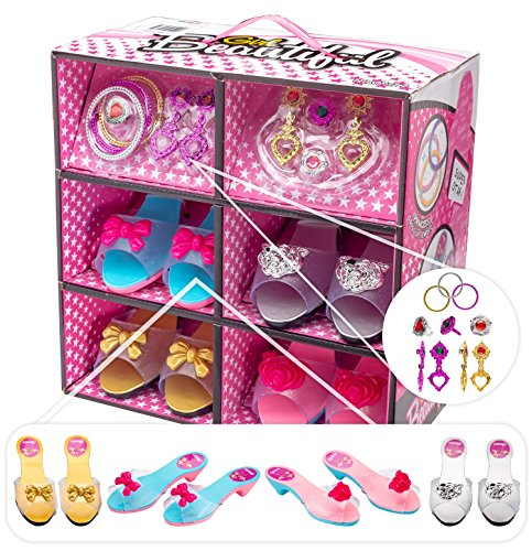 Shoes and Jewelry Boutique – Little Girl Princess Play Gift Set with 4 Pairs of Shoes, Collection of earrings, bracelets rings – Great for Dress Up & Group Play – (Old Lady Costume For Toddler)