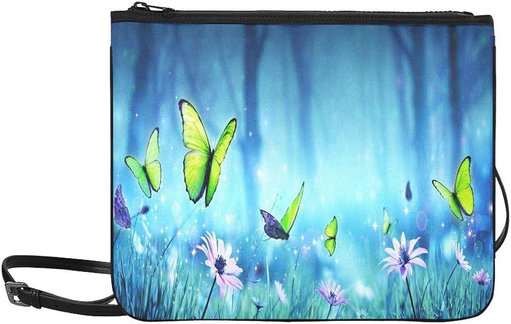 JEOLVP Fairy Butterflies Mystic Forest Contiene 3 D Stock Illustration Pattern Custom High-grade Nylon Slim Clutch Bag Cross-body Bag Bolsa de hombro