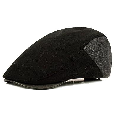 29f990977e1 HowYouth Mens Wool Tweed Duckbill Ivy Flat Cap Irish Newsboy Gatsby Driver  Winter Hat (Black
