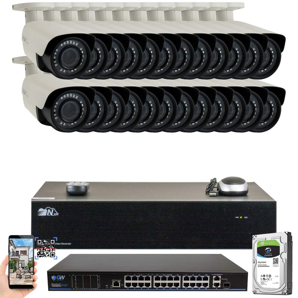 GW 32 Channel 4K NVR H.265 UltraHD 8MP 2160P IP PoE Security Camera System – 24 Outdoor Indoor 2.8 12mm Varifocal Zoom 8.0 Megapixel 4K Camera, 120ft Night Vision, Free Remote View