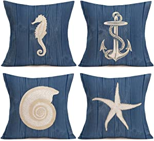 Asamour Vintage Wood Ocean Park Throw Pillow Case Anchor Marine Life Sea Horse Starfish Conch Decorative Cushion Cover Mediterranean Style Pillow Sham 18 inches Set of 4,Cotton Linen,Navy Blue,Wooden