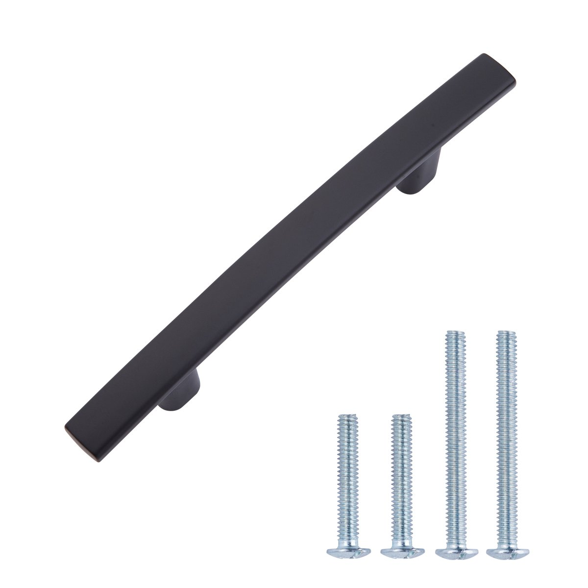 "AmazonBasics Modern Curved Cabinet Handle, 5.25"" Length (3"" Hole Center), Flat Black, 10-Pack"