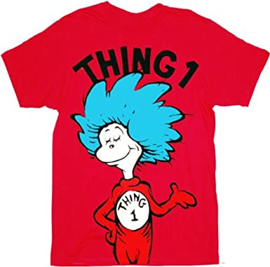 Amazoncom Dr Seuss Thing 1 Or Thing 2 Adult Red T Shirt Clothing