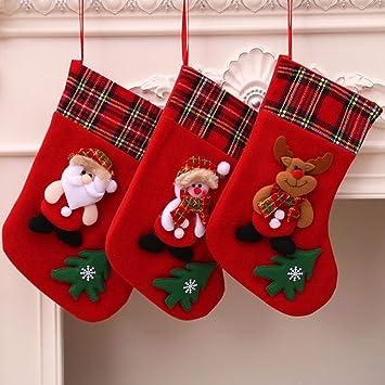 YJBear - Juego de 3 Calcetines de Navidad para niños, diseño de Papá Noel, Reno, muñeco de Nieve, Navidad, Fiesta, decoración: Amazon.es: Hogar